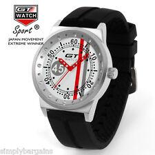 Men's Racing Analog Quartz Sports Round Red White Gray Watch - Japan Movement