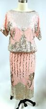VTG Heavily Beaded 2 PC Silk Dress Skirt & Top Pink Silver  1980s Disco M India