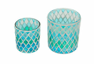 Set of 2 Coastal Blue / Green Mosaic Glass Candle Holders Beach Decor Accent