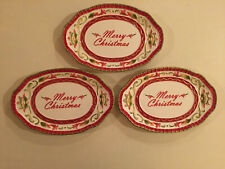 Fitz And Floyd Woodland Holiday Christmas Plates/Tray 3 Excellent Condition
