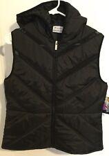 Lotto Womens Hooded Black Vest Running Mesh Size Large L Jacket Training