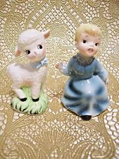 *SUPER RARE VTG* Blue Mary Had a Little Lamb Salt & Pepper Shakers Figurine Set
