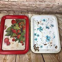 "Vtg  lot of 2 Metal serving trays Mid century Modern 17.5"" x 12.5"" strawberries"