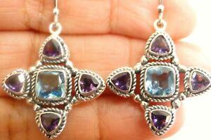 Purple Amethyst Blue Topaz Ornate 925 Sterling Silver Dangle Drop Earrings