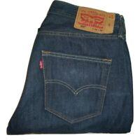 Mens LEVI'S 501 Dark Blue Denim Jeans W32 L33 Straight Leg