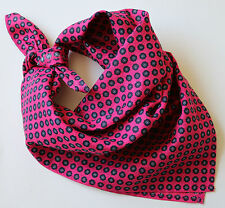 "PINK & NAVY BLUE MILLEFIORI LINEN NECKERCHIEF BANDANA 22"" SQUARE. NEW HAND MADE."