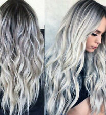 Women Long Wavy Synthetic Hair Full Wig Grey Gradient Wig Fashion Style Cosplay