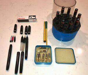 Vintage Rotring Rapidograph+Staedler pen/point+Calligraphy points+Cleaning pot