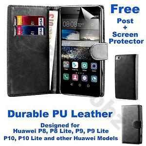 Book Wallet PU Leather Case Flip Cover Huawei P8 P9 P10 Lite + Screen Protector