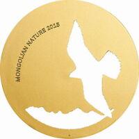 Mongolia 2015 Saker Falcon 500 Tugrik Gold Plated Silver Coin,BU