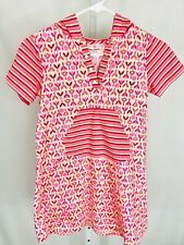 Hanna Andersson Size 130/ 8 Girls Jumper Dress Hooded Short Sleeve Pink Floral