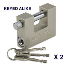 HEAVY DUTY STEEL CONTAINER/SHUTTER PADLOCK 70MM WTH 3 KEYS KEYED ALIKE X 2