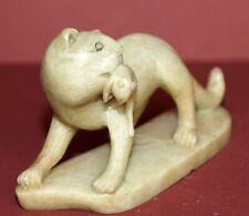 Old Item ~ Antique ~ Hard Stone  ~ Cat & Rat ~ VERY UNIQUE
