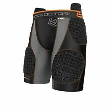 SHOCK DOCTOR 388 Core SHOCKSKIN 5 PAD Impact Black Grey SHORTS MENS XLARGE XL