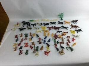 Lot of 84 Vintage Plastic Cowboys Indians Horses Figures Toys Accessories