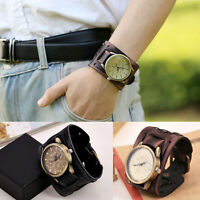 4.8cm Wide Band Men Vintage Retro PU Leather Wrist Watches Punk Hippy Wristwatch