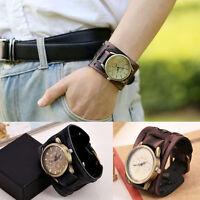 4.8cm Wide Band Men Vintage Retro PU Leather Wrist Watches Punk Hippy Wristwatch