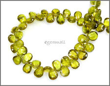 63ct Gem Peridot Pear Briolette Beads 5x6-8x9mm #85341