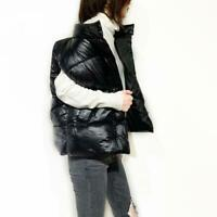 Women Down Cotton Short Vest Sleeveless Warm Winter Glossy Puffer Jacket Loose B