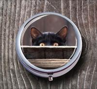 CAT BLACK STARE PILL BOX ROUND METAL -mhj7Z