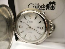 Pocket Watch Date 12/24 Hour Colibri Twotone Stainless Steel Swiss Movt