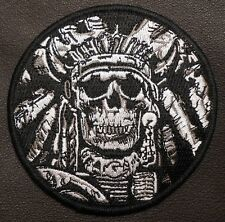 DEATH SKULL WAR CHIEF INDIAN MILITARY TACTICAL SWAT VELCRO® BRAND FASTENER PATCH