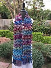Anthropologie Ombre HAND CROCHETED Ruffle Feathers FISH SCALE SCARF Game Thrones