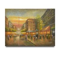 NY Art - Vivid Paris City Lights 36x48 Original Oil Painting on Canvas - Sale!