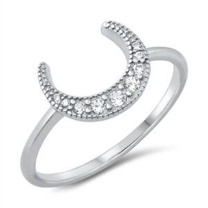 925 Sterling Silver & Cubic Zirconia CZ Milgrain Crescent Moon Ring J L N P R T