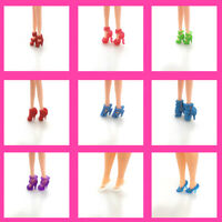 10 Pair Shoes High Heels Sandal Colorful Mixed Style Barbie Doll Accessories fg5
