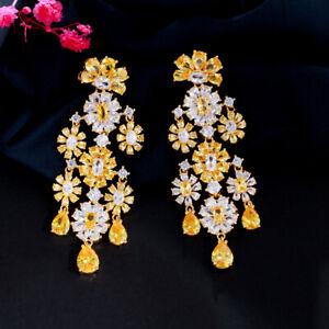 Statement Flower Chandelier Dangle Drop Yellow CZ Long Wedding Earring for Bride