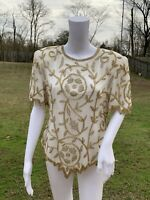 Vintage Laurence Kazar NY XL Large Blazer Sequin Silk Blouse Beaded Beige Gold