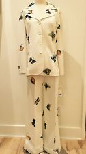 Vintage Mr Dino White polyester suit with butterflies, new old stock with tags
