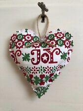 'EMMA BRIDGEWATER' FABRIC HEART JOY CHRISTMAS FABRIC HANGING DECORATION XMAS