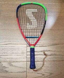 """Vtg 90s Spalding Intimidator Racquetball Racquet 22"""" L 105 oversized head Cover"""