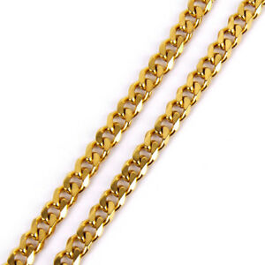 Men's 18K Gold Filled Heavy Stainless Steel Curb Cuban Chain Necklace 7mm