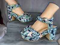 Simply Be Floral Platform Block Heel Sandals Size 7 Ex Wide Vgc