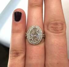 2.50Ct Oval-Cut Brilliant Diamond Halo Wedding Engagement 14K White Gold Finish
