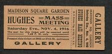 1916 unused full concert ticket Madison Square Garden II New York