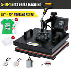 5 in 1 T Shirt Heat Press Machine w 15x15in Heat Pad for Shirts Mugs Plates More