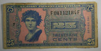 MPC Series 541 Military Payment Certificate 25 cents   Historic Rare