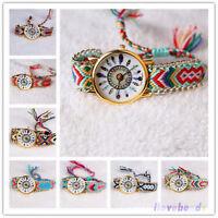 Womens Fashion Wrist Watch Bracelet Thread Braided Weaved Leather Dream Catcher
