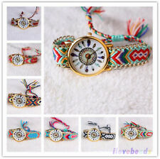 Womens Fashion Wrist Watch Bracelet Thread Braid Weaved Leather Dream Catcher N9