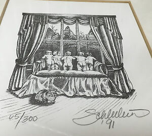 Ornate Gold Frame Lithograph 1991 Schleelein 5 Naked Babies Cupids HELP ? Signed