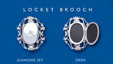 Diamond Locket Brooch Solid Sterling Silver Hallmarked