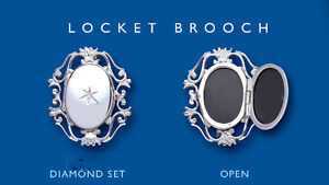 Diamond Locket Brooch Solid Sterling Silver Hallmarked