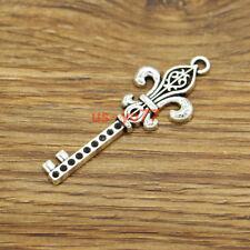 15 fleur de lis key Charms Quebec France Pendants Antique Silver Tone 18x48 3151