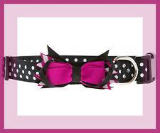 Top Paw Delightful!~ Black White Polka Dot w/ Fuchsia & Sparkly Bow dog collar S