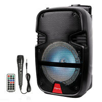 "8"" Portable FM BT Party Speaker Subwoofer Heavy Bass Sound 1000W w/ Microphone"