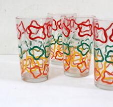 4 verres à orangeade rétro pop 1950 / 1960